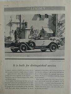 1930 Lincoln Dietrich convertible Coupe car vintage original ad