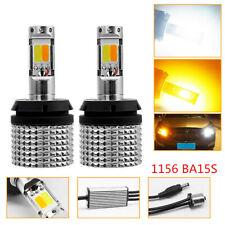 2x 1156 BA15S White/Amber LED Backup Reverse Lamp Turn Signal Light Canbus Bulbs
