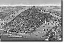 Mappa del New York dal 1886-STORICO VECCHIO VINTAGE FOTO STAMPA POSTER AMERICA USA