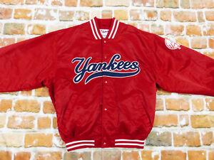 New York Yankees USA Vintage Blouson Baseball Varsity Rouge Majestic T:L De Neu