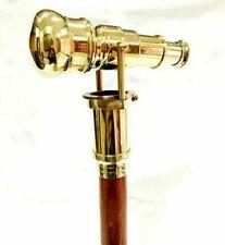 Nautical Vintage Brass long Designer Handle W/ Wooden Walking Stick Cane Gift