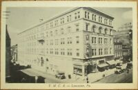 Lancaster, PA 1937 Postcard: YMCA Building / Downtown - Pennsylvania Penn