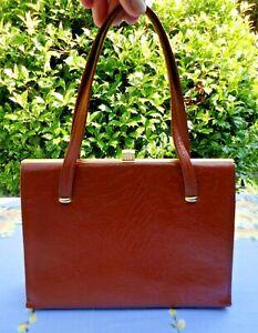 Small Vintage 1960s Tan Leather Kelly/Handbag. Sartin Lined. Two Handles.