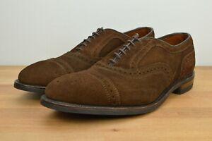 NEW Allen Edmonds Strand Cap Toe Oxford Brown Suede Size 10 D Luxury Dress Shoe