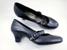 Clarks size 6 E (39) wider fit black leather Mary Jane block heel court shoes