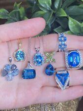 New Effy 3.75 White Diamonds & AAA Blue Topaz Pendant 14k Gold Necklace