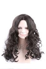 Women Mid-Long Black Hair Wig Fiber Hair Cosplay Anime Full Wigs Natural Hair