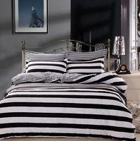 Black & White Striped Bedding Quilt Duvet Doona Cover Set Single Queen King Size