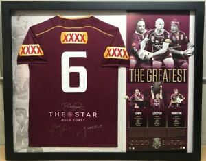 QUEENSLAND MAROONS STATE OF ORIGIN THE GREATEST No 6 SIGNED JERSEY LOCKYER LEWIS