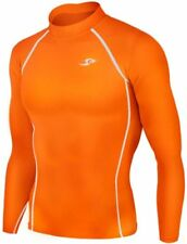 New 137 Skin Tight Compression Base Layer Orange Running Shirt Mens S  2xl L