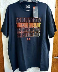 Under Armour Men's Black Iron Man Loose Fit HeatGear T-shirt Large C3A