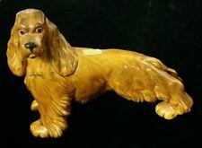 "Large Royal Haeger Pottery USA Brown/Honey Glaze Cocker Spaniel Dog Figurine 9"""
