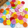 50/100/500pcs Mix Color Flowers Buttons 2 Holes DIY Craft Sewing 15mm PT21