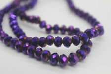 100 pce Tanzanite Metallic Purple Electroplate Faceted Abacus Glass Beads 6x5mm