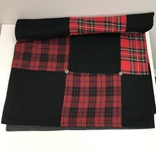 "Red Black Buffalo Plaid Scotch Plaid Black Gray Silver Throw Blanket 54"" X 50"""
