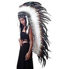 Indian headdress, long length, Indian headpiece, warbonnet, feather headdress