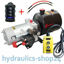 Hydraulikpumpe + FUNK 4L Stahltank 12V Hydraulikaggregat Kipper Anhänger Stapler
