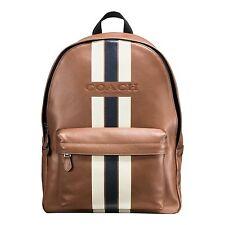 Coach Charles Leather Large Varsity Stripe Backpack Book Bag Saddle Brown