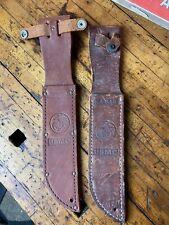 C36 Lot Of 2 Vintage Leather Sheath Scabbard for Usmc Fighting Knife Sheath Ww2