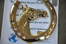 24K plaqué or Lucky Fer à Cheval Mustang Horse Head Grill Badge Voiture Van Camion
