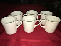 6 VTG CORNING USA Coffee Tea CUP MUG All White WINTER FROST 8oz Milk Glass 2 dif