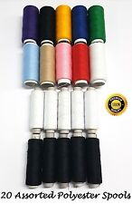 20 x 800M POLYESTER SEWING EMBROIDERY OVERLOCK THREAD SPOOL VARIOUS MIX COLORS