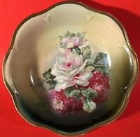 """ANTIQUE BOWL HAND DECORATED """"WHITE ROSE"""" 10""""W  THICK GOLD RIM  Z. S. & C BAVARIA"""