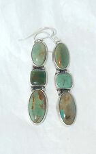 STERLING SILVER/EMERALD VALLEY TURQUOISE DANGLE WIRE EARRINGS - 9687
