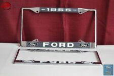 1955 Ford Car Pick Up Truck Front Rear License Plate Holder Chrome Frames New