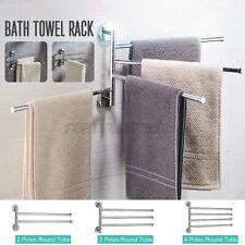 180° Wall Mounted Bathroom Towel Rack 2 Swivel Rail Hanger Shelf Stainless