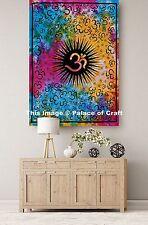 Om Mandala Tie Dye Handmade Wall Hanging Table cloth Cotton Tapestry Indian Boho