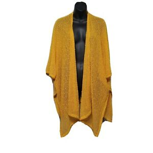 Womens Open Front Sweater Cardigan Polyester Mustard Yellow Shawl Duster One Sz