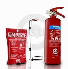 2KG POWDER FIRE EXTINGUISHER WITH FIRE BLANKET HOME KITCHEN CAR OFFICE
