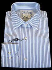 "Shirt - Dress - Men's - 15 3/4"" neck - Italian - Blue/white striped - From Italy"