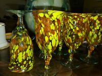 BEAUTIFUL Confetti HAND Blown Colorful CONFETTI Wine ART Glass Goblets ~8~MEXICO