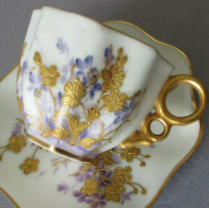 Antique HP BELLEEK Porcelain Demitasse Cup + Saucer Raised GILT Paste FLOWERS