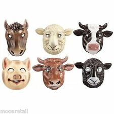 6x PLASTIC FARM ANIMAL MASK Barn Children Party Fancy Dress Up Wild Life Cosplay