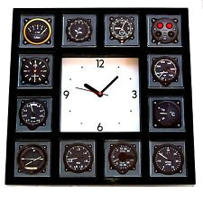 Pilot Airline Airplane Gauges cockpit Panel Black Clock with 12 dial images