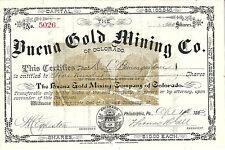 COLORADO 1883, Buena Gold Mining of Colorado Company Stock Certificate