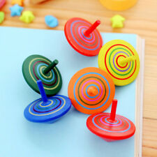 2x Multicolor Wooden Gyro Spinning Top Peg-Top Cartoon Kids Educational Fun Toys