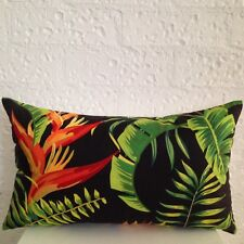 Tommy Bahama Outdoor Indoor Tropical floral Palm Leaf Lumbar Retro Cushion Cover