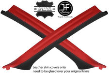 BLACK & RED 2X A PILLAR REAL LEATHER COVERS FOR BMW 3 E46 COUPE 1998-2005