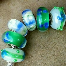6P Green White Blue 3D Lampwork Flowers Single Core Murano Glass European Beads