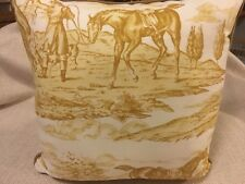 """13"""" Decorator Pillow NEW Horse Pattern scalamandre Fabric. Gold & Off White"""
