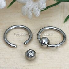 10Pcs Silvery Steel Hoop Ball Captive Bead Nose Ring Body Piercing Cool 16GA