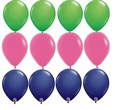 12 Balloons new Preppy Party latex Navy Blue hot Pink kelly Green wedding Prom