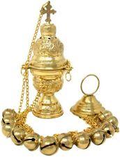 High Polished Brass Hanging Incense Burner Censer with Bells, 8 In