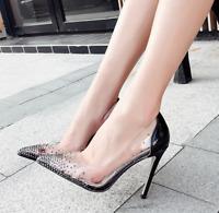 Sexy Women Stilettos Clear Pvc Pointy Toe Shoes High Heel Rhinestone Shoes Pumps