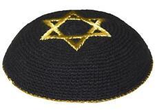 KNITTED STAR OF MAGEN DAVID KIPPAH KIPPOT YARMULKA YARMULKE 09 BLACK & GOLD