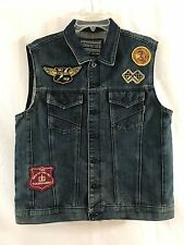 NWOT Ring of Fire Downtown Los Angeles Denim Vest Sz Lg. Blue with Patches